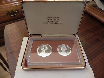 1974 Australia Cook Islands Silver 2 Coin Proof Set - Mintage of 2,856 !
