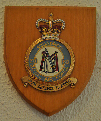 50 Squadron Royal Air Force mess plaque shield crest RAF Avro Vulcan V bomber
