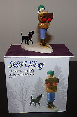 DEPARTMENT 56 SNOW VILLAGE THANKS FOR THE HELP BOY FIGURINE 808959 ENESCO New