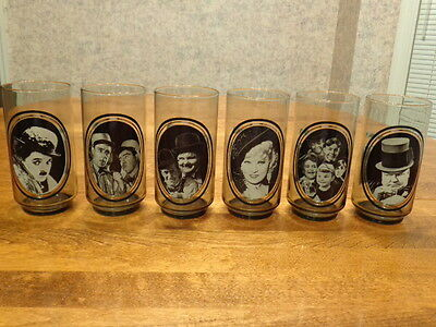 Arby'S Vintage 1979 Actors Series Collector Glasses Complete Set Of 6