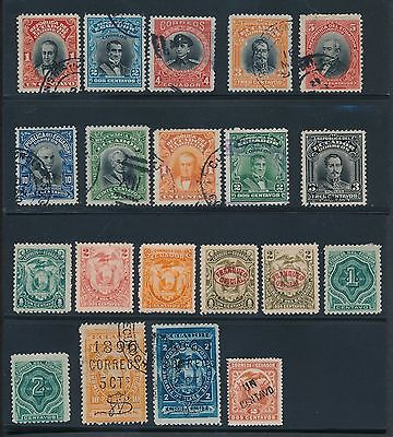 1872 - 1928 Ecuador EARLY ISSUES AS SHOWN; MH & USED; CAT VALUE $95