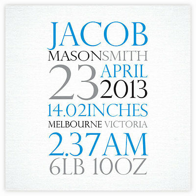 Personalised Name Prints - Baby Birth Prints - Custom made with text and colours