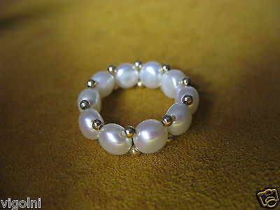 Pearl Honora Stretching Ring Size 6 7 8  White 14K Gold Gift Honora Christmas