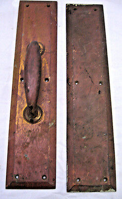 """Antique Door Push and Pull Plates Copper Handle (or Brass)  ~16""""   #76080"""