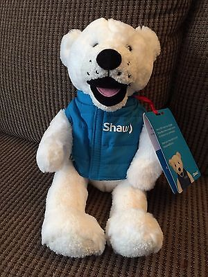 """SHAW CABLE White Bear with Blue Vest - Advertising Plush Toy Mascot - 14"""" Tall"""