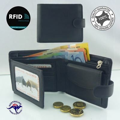 Men's Genuine Cowhide Soft Leather RFID 10 Cards Wallet Coin New Black