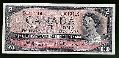 1954 CANADA Canadian two 2 DOLLAR BILL prefix F/U  NOTE fairly CRISP AU