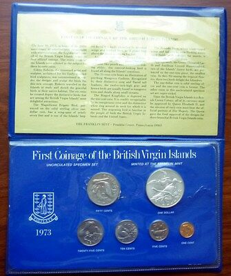 1973 BRITISH VIRGIN ISLANDS - FIRST OFFICIAL MINT SET (6) w/ 1 Oz SILVER CROWN