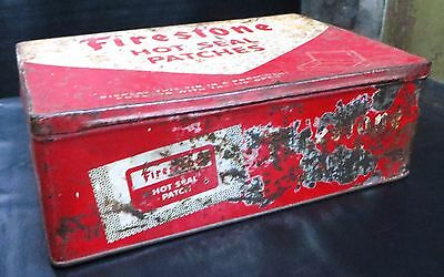 VINTAGE FIRESTONE TIRES/HOT SEAL PATCHES Litho TIN  Box AUTOMOBILE Collection