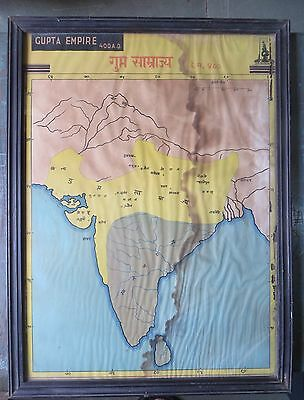 Rarts WOODEN FRAME GUPTA EMPIRE 400AD LITHO art PRINT HISTORICAL MAP  G.dynasty