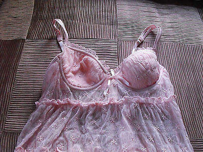 VICTORIA's Secret~PINK~Semi SHEER~Mesh LACE~EMBROIDERED~Babydoll~CHEMI~Sz 34B