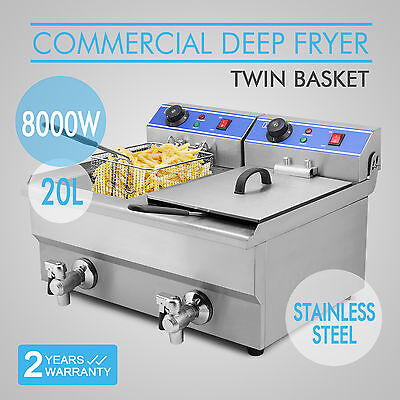 20L Commercial Electric Deep Fryer Timer Drain Two Basket 8000W Tabletop