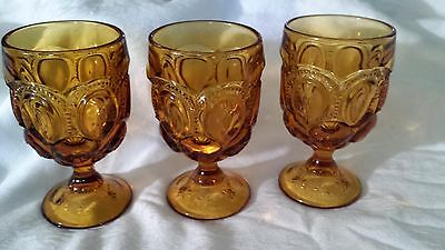 Three (3) Vintage L.E. Smith Amber Moon and Star Water Wine Goblet Glasses