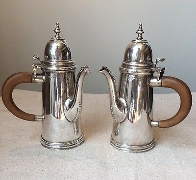 Pair Antique Wilson Gill London Sterling Silver Cafe Au Lait Coffee Service Pot