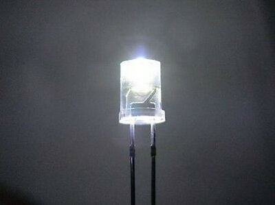 20 WHITE 5mm INVERTED CONE LEDS LIGHT O SCALE BUILDINGS FREE RESISTORS FOR 12 V