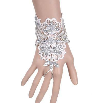 Elegant White Lace Acrylic Rhinestone Hand Harness Chain Bracelet with Ring
