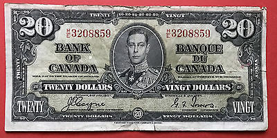 1937 Bank of Canada $20 Changeover Note HE 3208859 Coyne Towers  Tear