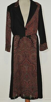 Vintage Skirt Suit Made From Antique Victorian Wool Paisley Shawl LG  w- 31 3/4
