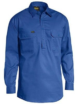BISLEY Closed Front Lightweight  Drill Work Shirt Long Sleeve ROYAL BLUE BSC6820