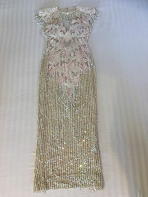 ❤VINTAGE❤Gorgeous SHO MAX Very Heavily Embellished Pink Dress Glass Beads Pearls