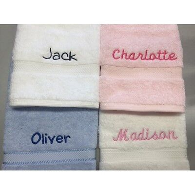 Personalised Embroidered Bath Towel - Baby Kids Christening Baptism Newborn Gift