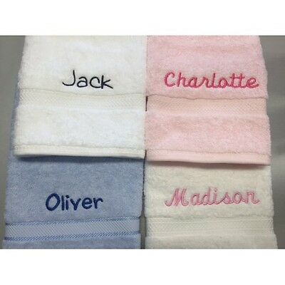 Personalised 3 Piece Set with Embroidered Name - Bath Towel Hand Towel Face Wash