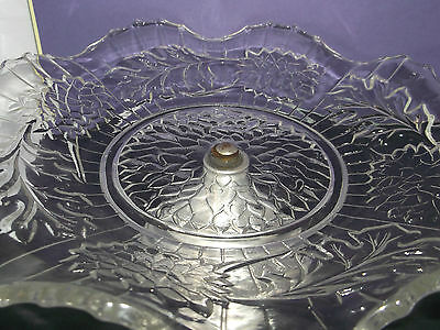 "Wonderful Substantial VINTAGE 9"" Clear GLASS Cake or Fruit Stand (687gms)"