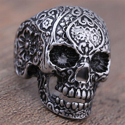 316L Stainless Steel Men's Punk Floral Ghost Skull Biker Ring US Size 8-11 Cool