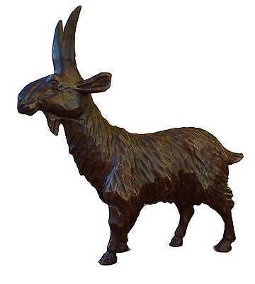 French Antique Large Black Forest Hand Carved Wood Ibex Carving - Glass Eyes