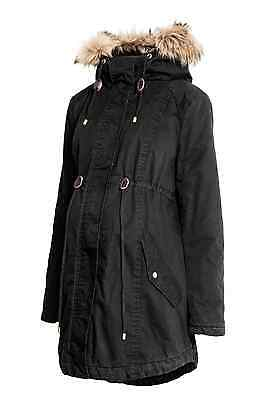H&M MAMA Maternity Parka Black S M L 10 12 14 16 18 BNWT Cotton Coat Jacket