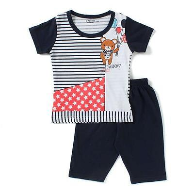 Night Suit Kids Size 0 ~ 8  Happy Star - Teddy print - Navy Blue / Red - Cotton