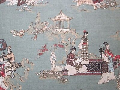 "Chinoiserie Linen union antique archives superieur toile de jouy fabric 54"" x 45"