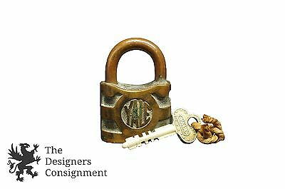 Yale Towne Mfg Co Antique Padlock Key Conn Brass Lock Steampunk Rustic