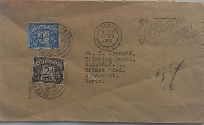 Great Britain 1962 Unpaid Cover To N.a.a.f.i. Aldershot + 6 Pence Postage Dues