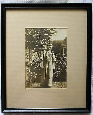 Antique Silver Gelatin  Photograph Of American Indian Native Woman In Frame