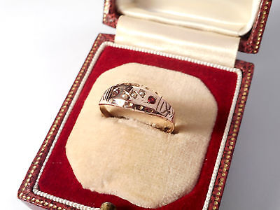 VICTORIAN 9CT ROSE GOLD RUBY SEED PEARL RING .. (ring size O 1/2)