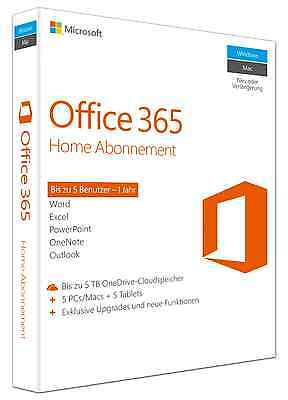 Microsoft Office 365 Home, 1 Jahr, Vollversion, ESD (Deutsch) (5x PC/MAC)