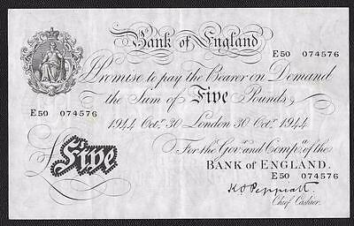 1944 Series Peppiatt White Five Pound Note - B255 - E 50 074576 - Gvf