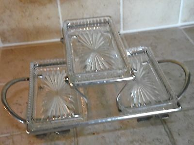 """Vintage 3 Dish Cut Glass Relish Tray w/ Silver Plated Stand w/ Handle (5"""" x 10"""")"""