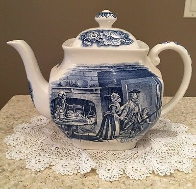 Staffordshire England Liberty Blue Minute Men 6 Cup Teapot Blue Transfer Ware
