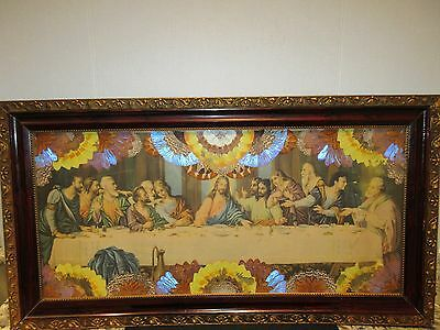 vintage large picture last supper with butterfly wings wood frame 35