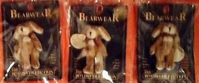 """Lot Of 4 Fully Jointed 2 1/2"""" Boyds  Miniature Bunnies & Bears Wearable Pins"""