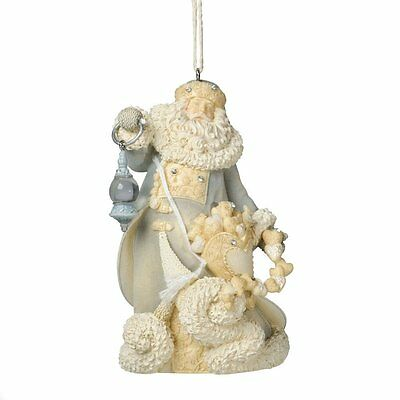 "Enesco Foundations Santa w/ Hearts Ornament by Artist Karen Hahn 4.13"" FREE SHIP"