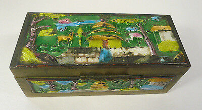 Antique Canton Chinese Enamel on Brass Stamp Box Deer Crane House