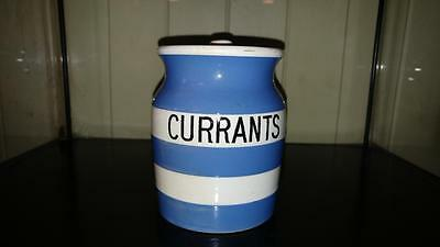 Small Vintage T G Green Cornish Ware 'Currants' Storage Jar - Green Church Mark
