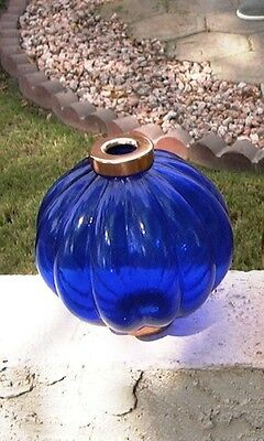 Clear cobalt BLUE Pleated Lightning Rod Ball - WeatherVane vane ball