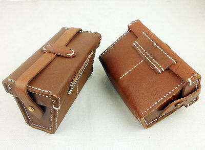 Pair WWII Japanese IJA Military Ammo Pouch Leather Waist Ammo Bag Front-D1125