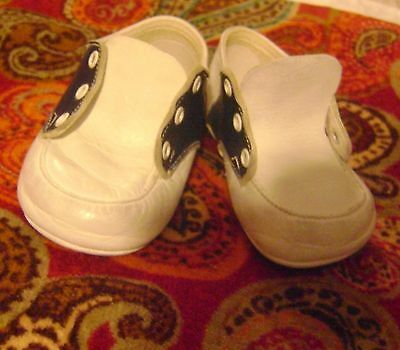vintage White & Navy Blue Leather Baby Tie SADDLE Shoes W/Soft Soles+ Size 2N?+