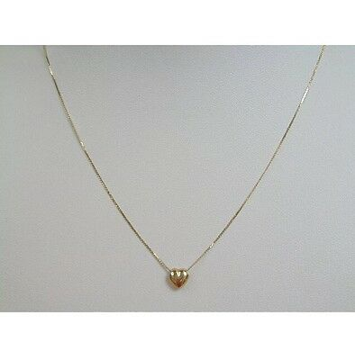 14K Yellow Gold Jewelry Chain Link Necklace Fine Heart Shape Bead Serpentine