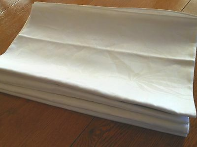 Vintage New 54 X 90 Unused Irish Linen White Damask Floral Tablecloth, Holiday
